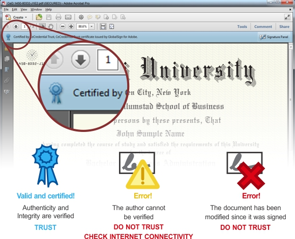 a screenshot of the certification badge on the document